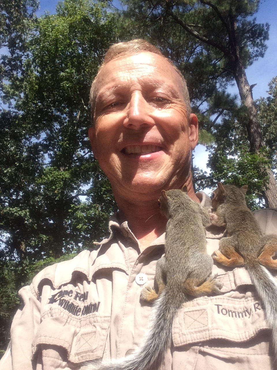 Baby Squirrels Climbing Up Tommy's Shirt